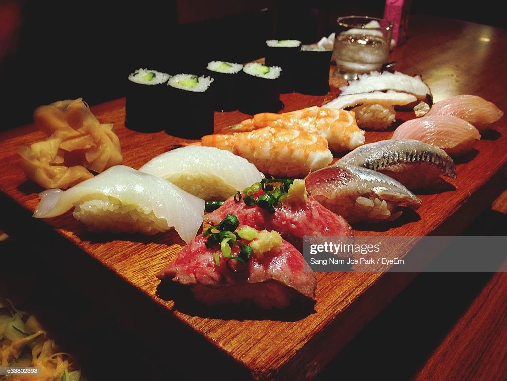Close-Up Of Seafood Serving On Table : Foto stock