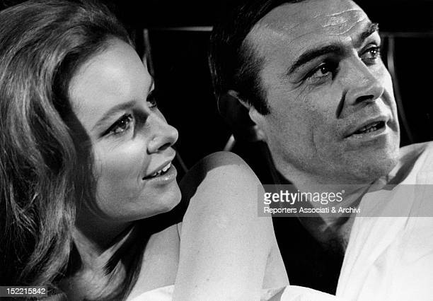 Closeup of Sean Connery and Luciana Paluzzi in Thunderball fourth episode of James Bond's series London March 1965