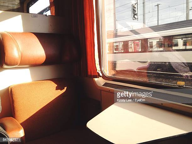 Close-Up Of Seat By Window In Train