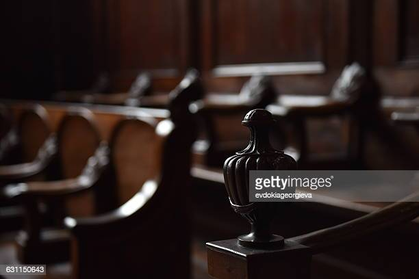 close-up of seats in a courtroom - courtroom stock pictures, royalty-free photos & images