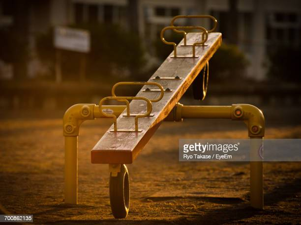 close-up of seesaw - seesaw stock pictures, royalty-free photos & images