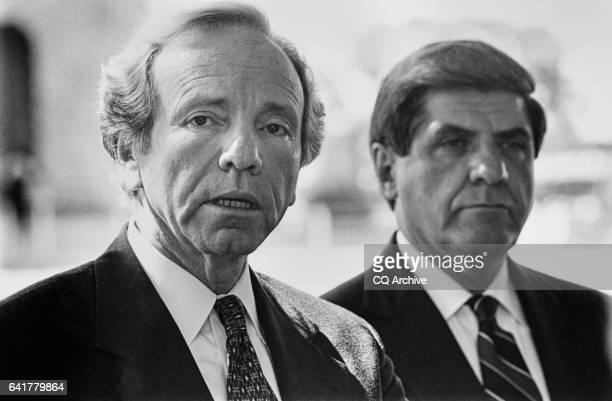 "Close-up of Sen. Joseph Isadore ""Joe"" Lieberman, D-Conn., United States Senator with candidate Sen. Earl Benjamin ""Ben"" Nelson, D-Nebr., Governor of..."