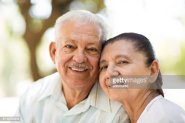 Close-up of senior couple