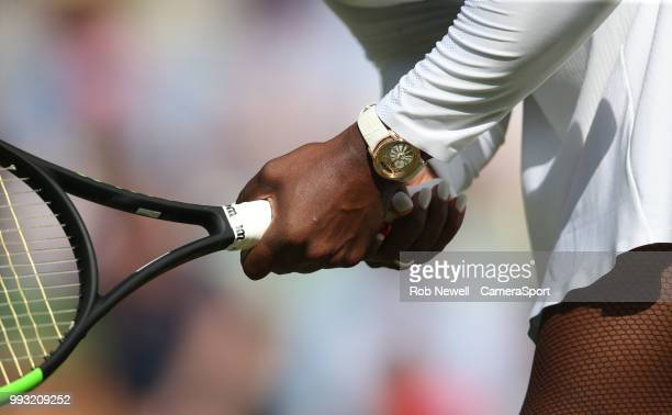 A closeup of Serena Williams' hands during her victory over Kristina Mladenovic in their Ladies' Singles Third Round match at All England Lawn Tennis...