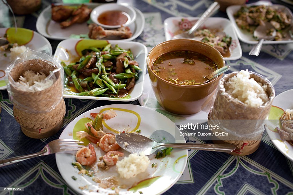 Close-Up Of Served Asian Meal : Stock Photo