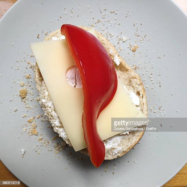 Close-Up Of Served Bread With Cheese On Plate
