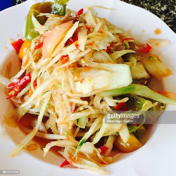 Close-Up Of Served Fried Cabbage Vegetable In Plate