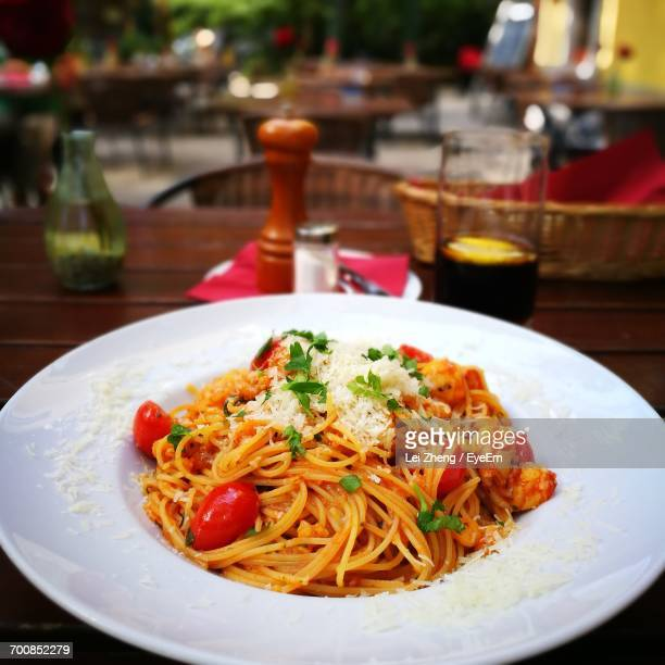 Close-Up Of Served Pasta In Plate