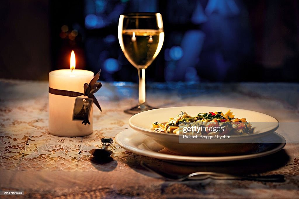 Close-Up Of Served Paste With Wine : Stock Photo