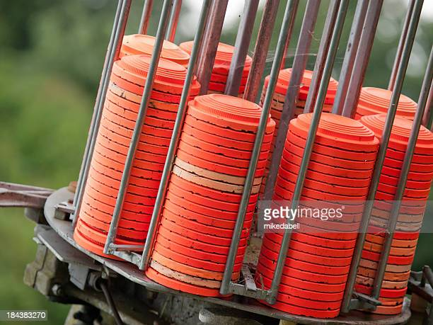 Close-up of set of clay pigeons for trapshooting