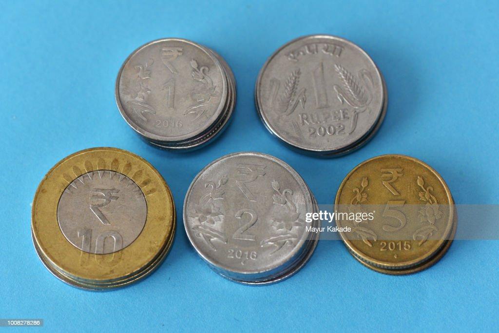 Closeup Of Set Indian Ru Coins Stock Photo
