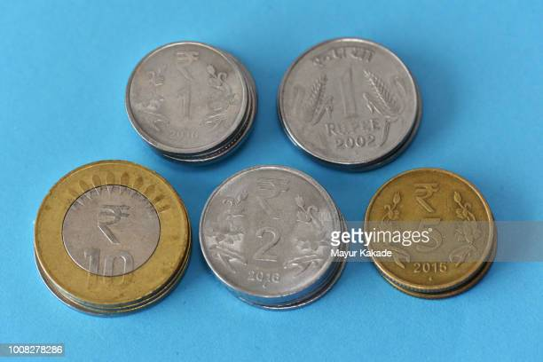 Closeup of set of Indian rupee coins
