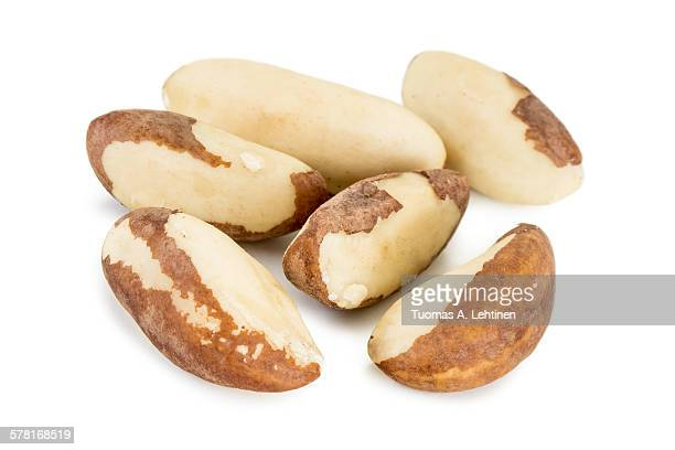 closeup of several brazil nuts - brazil nut stock photos and pictures