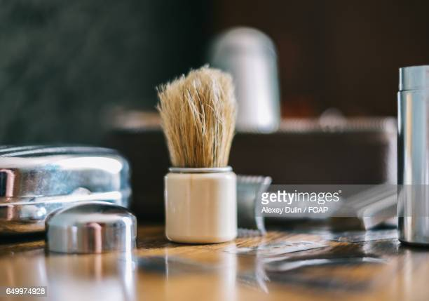 close-up of shaving set - shaving brush stock photos and pictures