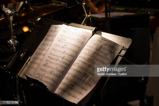 close-up of sheet music - sheet music stock pictures, royalty-free photos & images