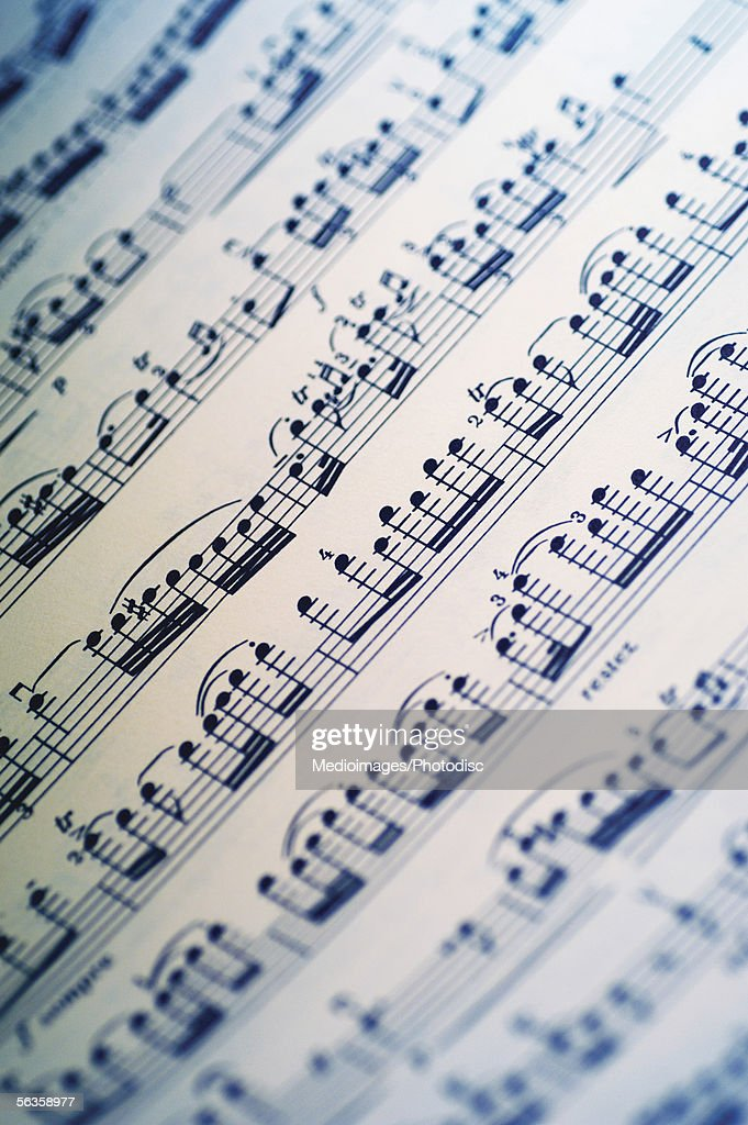 Close-up of sheet music : Stock Photo