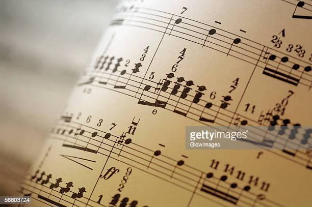 Close-up of sheet music