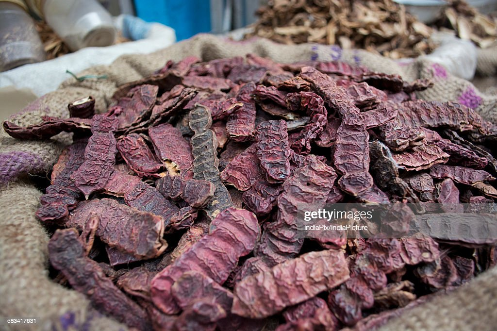 Close-up of Shikakai seeds for sale at the market : Stock Photo