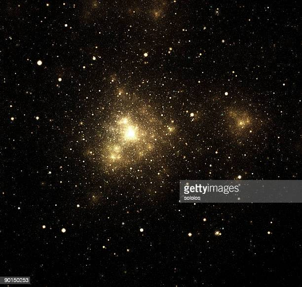 Close-up of shiny nebula with surrounding stars in galaxy