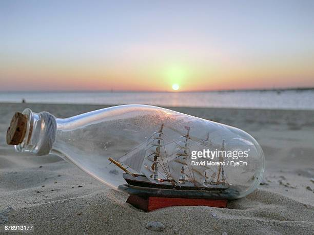 Close-Up Of Ship In Bottle