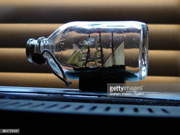 close-up of ship in bottle souvenir - ship in a bottle stock pictures, royalty-free photos & images