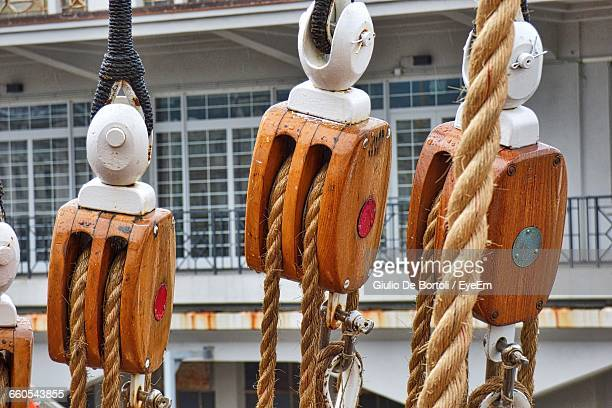 Close-Up Of Ship Rigging With Pulley And Rope