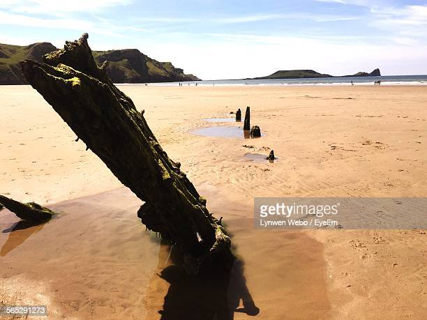 Close-Up Of Shipwreck On Beach In Rhossili Bay