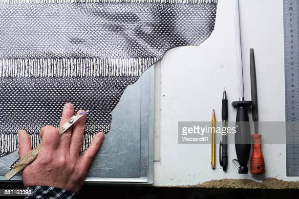 close-up of shoemaker working in his workshop - leather shoe stock pictures, royalty-free photos & images