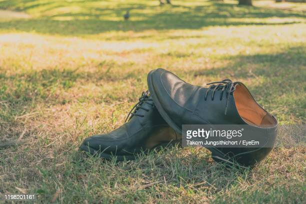 close-up of shoes on grass - leather shoe stock pictures, royalty-free photos & images