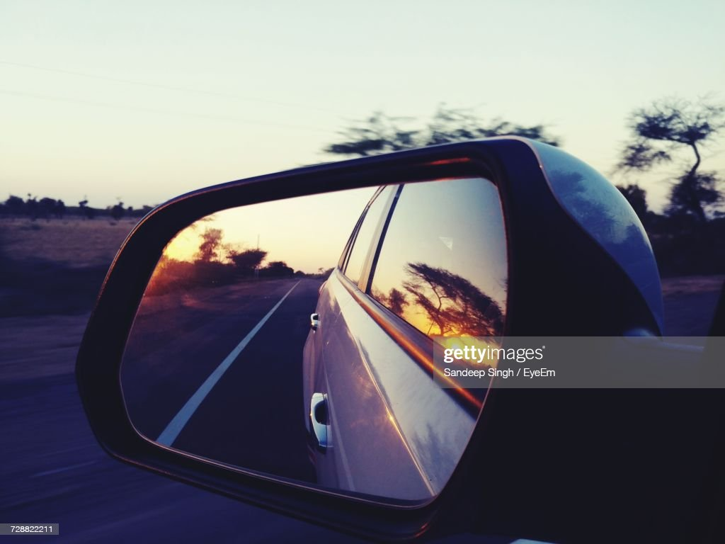 Close-Up Of Side-View Mirror : Stock Photo