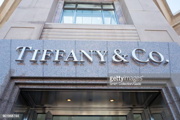Close-up of sign above entryway on facade of the Tiffany and Co luxury jewelry store in downtown Walnut Creek, California, November 17, 2017.