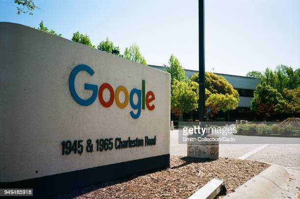 Closeup of sign and logo at the Googleplex the Silicon Valley headquarters of search engine and technology company Google Inc in Mountain View...
