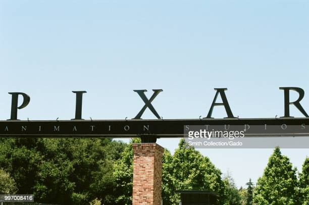 Closeup of sign at entrance gate of Pixar animation studios in Emeryville California June 12 2018