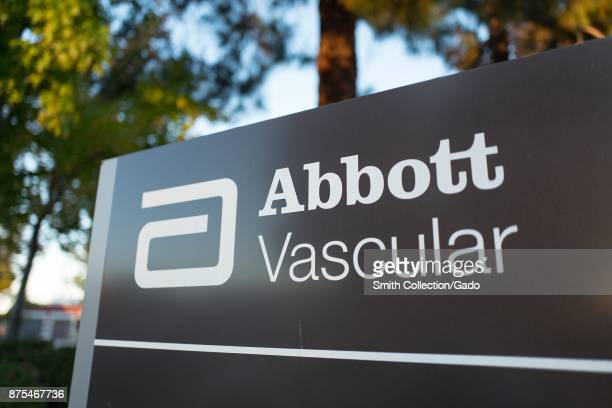 Closeup of sign at headquarters of biomedical company Abbott Vascular in Silicon Valley Menlo Park California November 14 2017