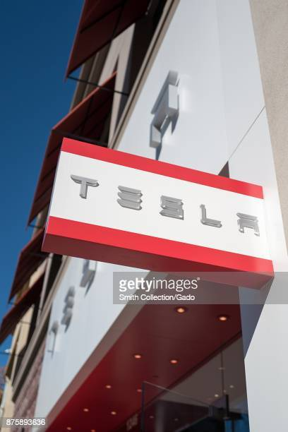 Closeup of sign at the Tesla Motors store at the upscale Broadway Plaza outdoor shopping mall in Walnut Creek California November 17 2017