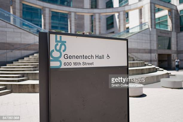 Closeup of sign for Genentech Hall on the Mission Bay campus of University of California San Francisco San Francisco California June 2016