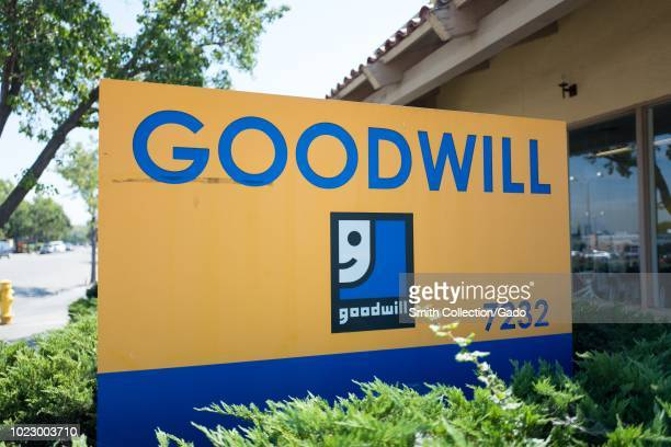 Close-up of sign for Goodwill donation center in downtown Dublin, California, August 20, 2018.