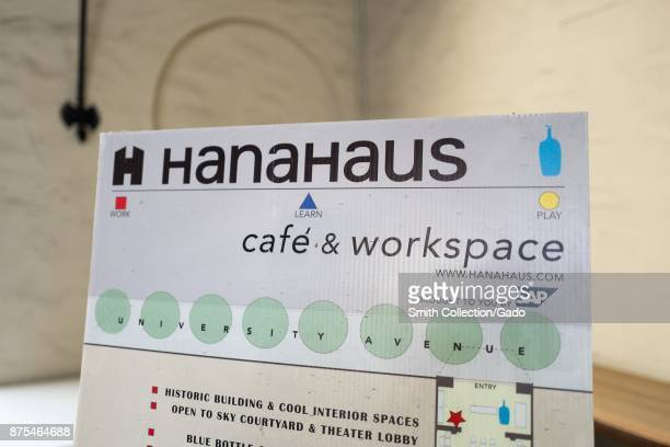 Closeup of sign for HanaHouse coworking space created by German company SAP at the Blue Bottle Coffee shop in Silicon Valley Palo Alto California...