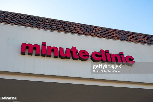 Closeup of sign for Minute Clinic medical clinic on the facade of a CVS Pharmacy location in San Ramon California February 20 2018 Parent company CVS...