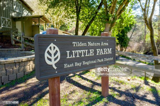Close-up of sign for the Little Farm attraction in the Tilden Nature Area of Tilden Regional Park, an East Bay Regional Park in Berkeley, California,...