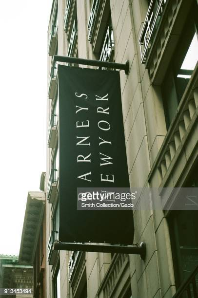 Closeup of sign for upscale department store Barney's New York on the Upper East Side of Manhattan New York City New York September 14 2017