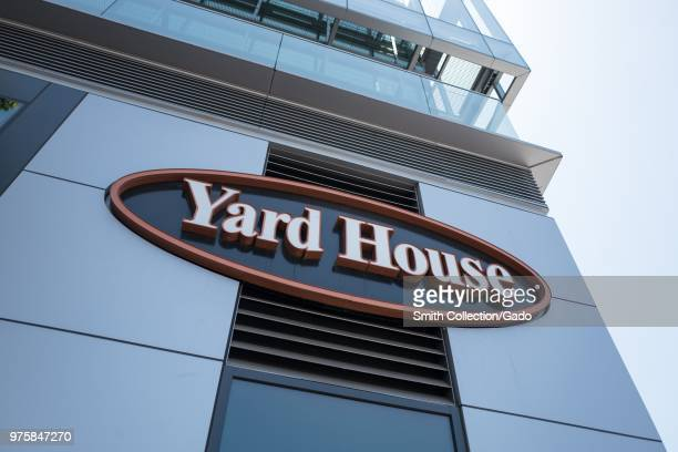Closeup of sign for Yard House restaurant at Santana Row a luxury outdoor shopping mall in the Silicon Valley San Jose California June 7 2018