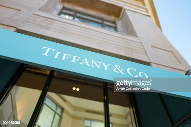 Close-up of sign on distinctive blue awning at the Tiffany and Co luxury jewelry store in downtown Walnut Creek, California, November 17, 2017.