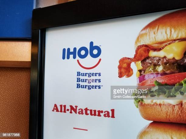 Closeup of sign with IHoB logo following pancake restaurant International House of Pancake's decision to change its name to IHoB Dublin California...