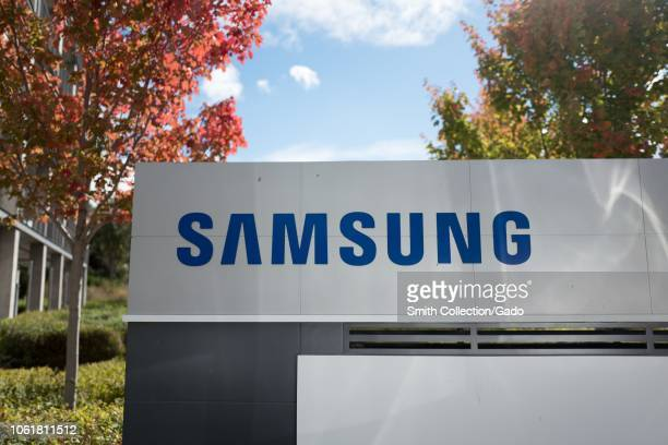 Closeup of sign with logo at the regional headquarters of technology company Samsung in the Silicon Valley town of Mountain View California October...