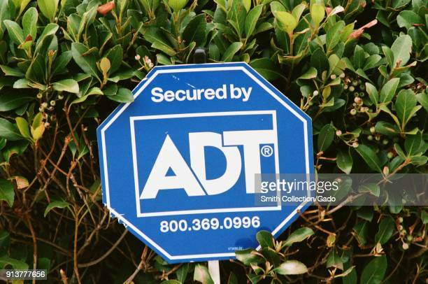 Closeup of sign with logo for ADT Security Corporation a residential and business alarm system provider in San Ramon California September 17 2017