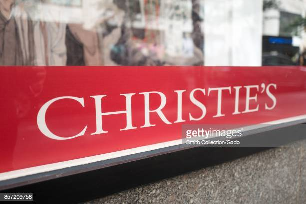 Closeup of signage for Christie's auction house in Manhattan New York City New York September 15 2017