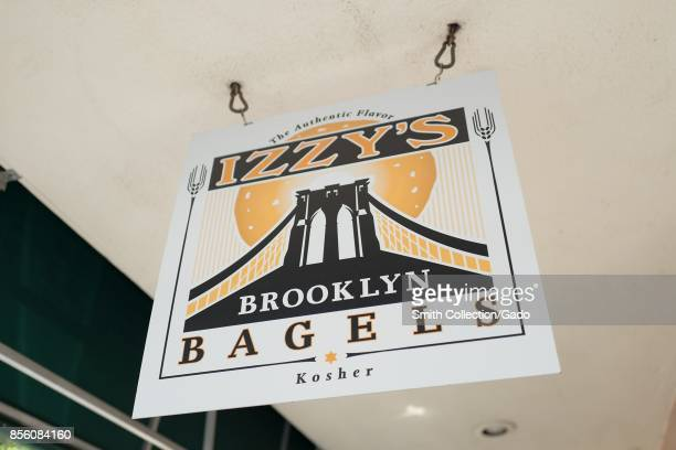 Closeup of signage for Izzy's Brooklyn Bagels a Kosher Jewish bakery in Silicon Valley Palo Alto California September 20 2017