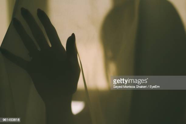 close-up of silhouette hand on curtain - translucent stock pictures, royalty-free photos & images