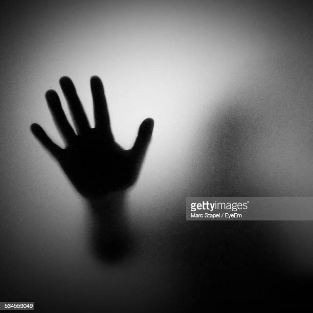 Close-Up Of Silhouette Hand On Glass